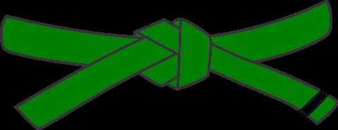Junior Judo Belt, 3rd Kyu, green with 1 black tab