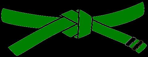 Junior Judo Belt, 3rd Kyu, green with 2 black tabs