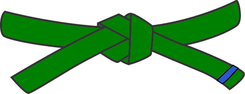Junior Judo Belt, 3rd Kyu, green with 1 blue tab