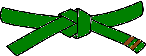 Junior Judo Belt, 3rd Kyu, green with 1 brown tab