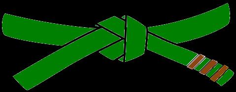 Junior Judo Belt, 3rd Kyu, green with 3 brown tabs