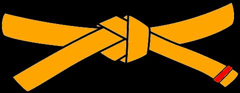 Judo Belt, 4th Kyu, orange with 1 red tab