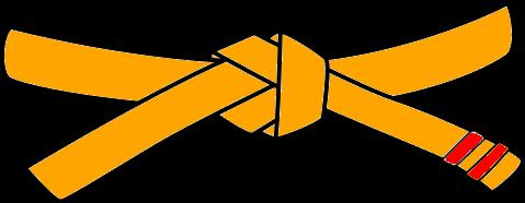 Judo Belt, 4th Kyu, orange with 2 red tabs