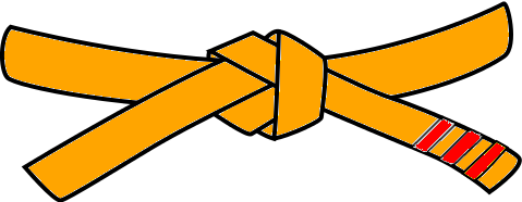 Judo Belt, 4th Kyu, orange with 3 red tabs