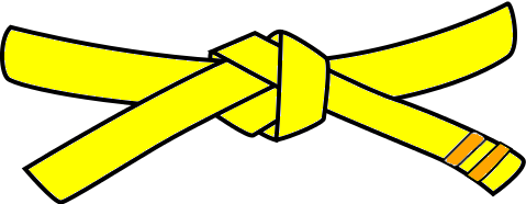 Junior Judo Belt, 5th Kyu, yellow with 2 orange tabs