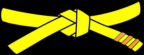 Junior Judo Belt, 5th Kyu, yellow with 3 orange tabs